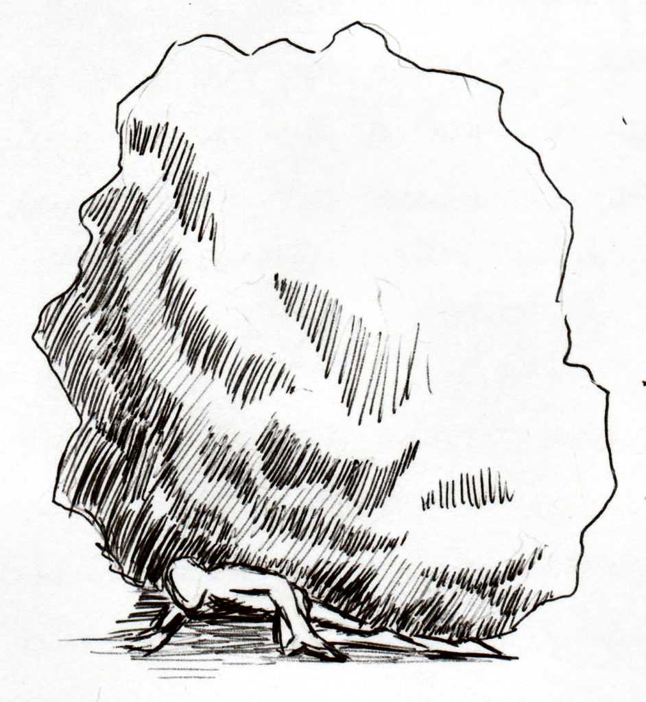 A black and white line drawing of a figure beneath a large boulder