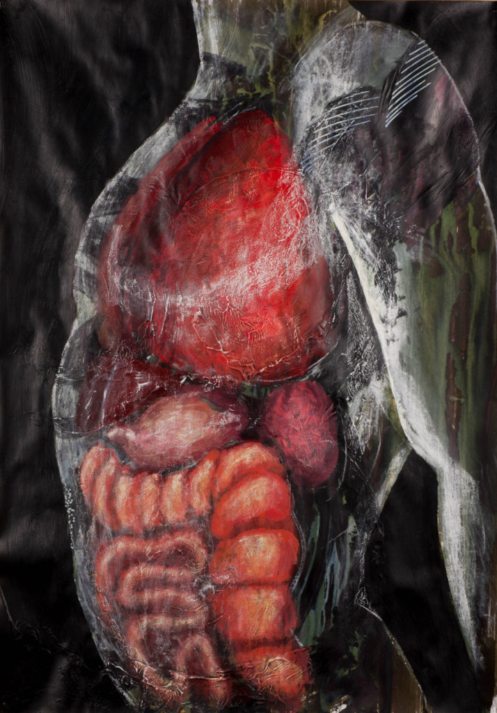 Opaque painting of the inside of a mans chest, showing the inner organs