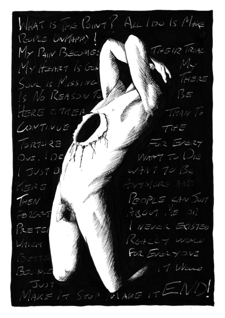 A lino cut of a naked man with a hole in his chest