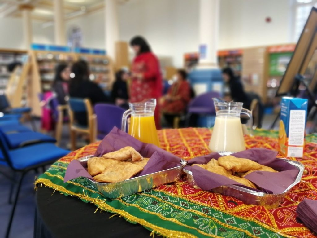 A table of refreshments at a Punjabi women's writers event