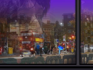 Layered image of a bus in a street