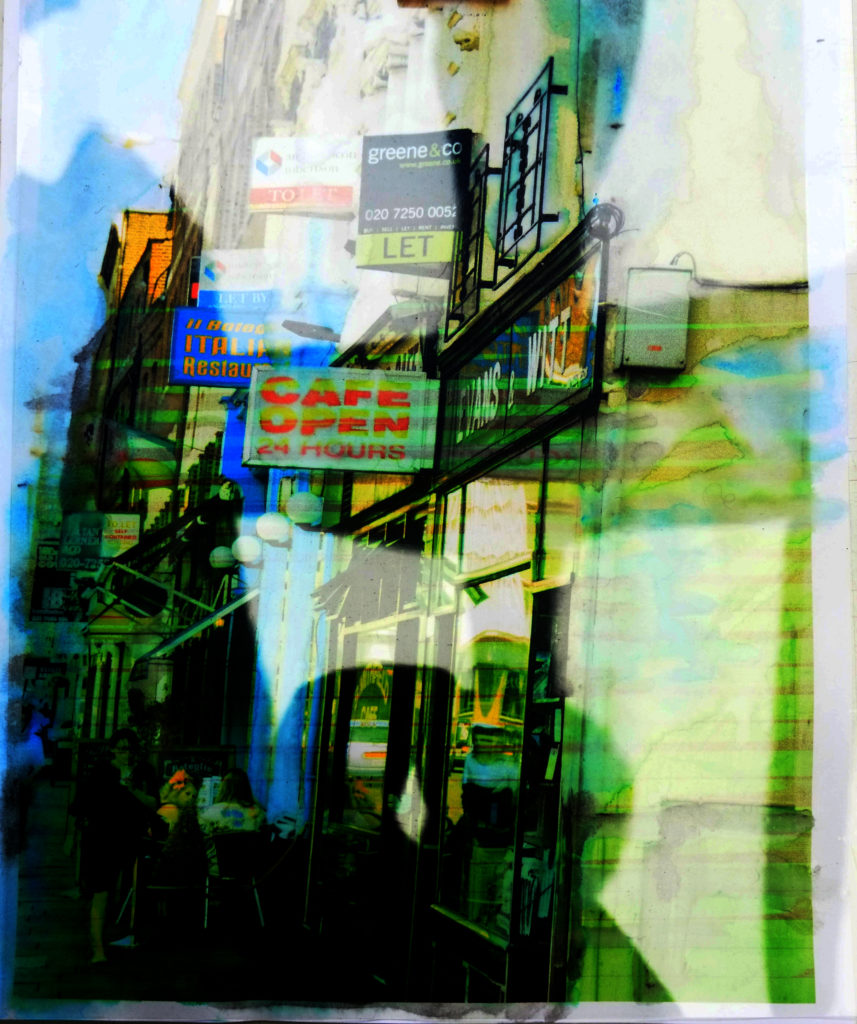A digitised image of shadows against shops on a high street