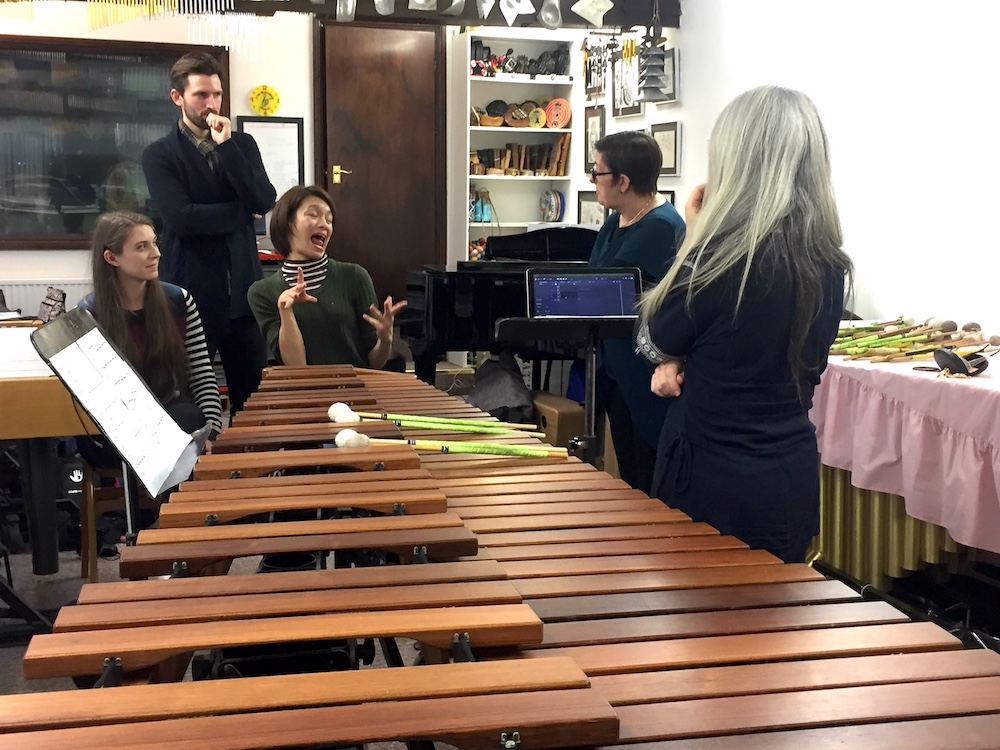 A large xylophone is picted with a group of people sitting the other side of the instrument