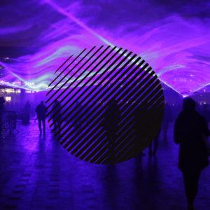 Crowd under purple lights