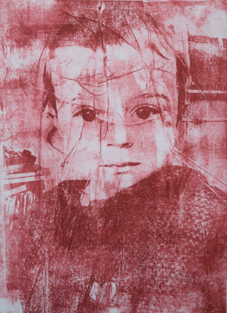 Red mono print of child