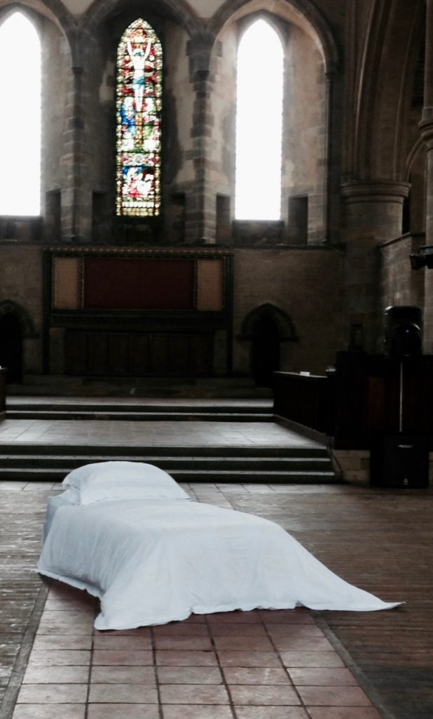 Bed in a church