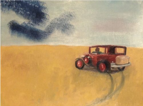 painting of an old car in a wheatfield following a murmuration of starlings