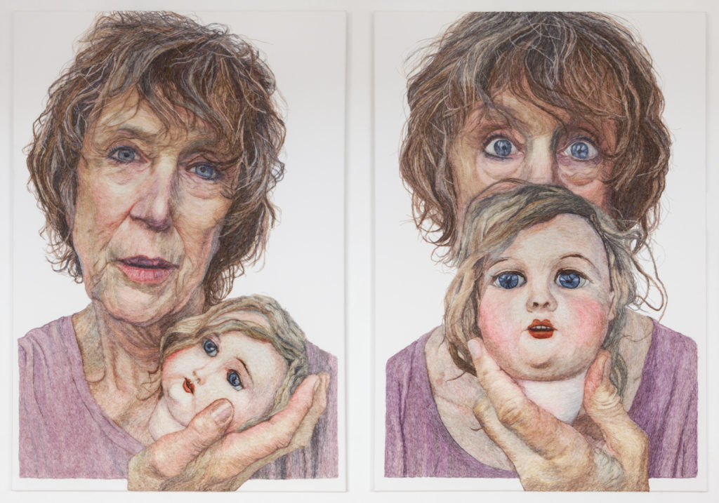 Two portraits of a woman, holding a dolls head