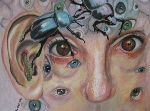 painting of a face with a large beetle crawling across it