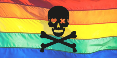 Skull and crossbones on a rainbow flag