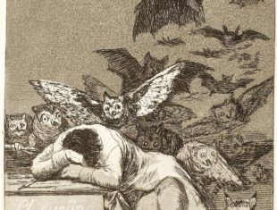Sepia print of a sleeping figure surrounded by owls