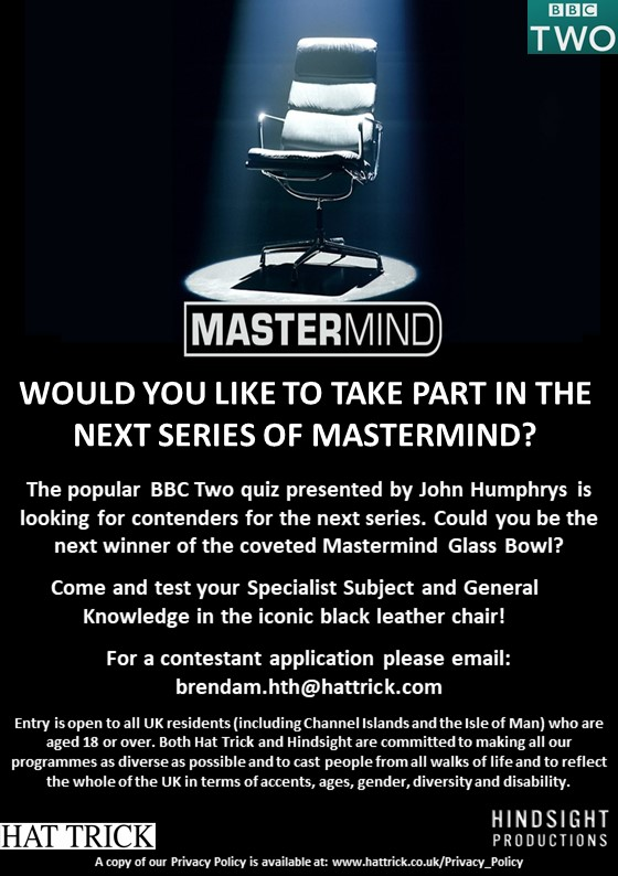 BBC Two's quiz show MASTERMIND now casting! - Disability