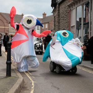 Two imitation Olympics mascots