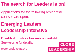 Advert for Clore Leadership Courses