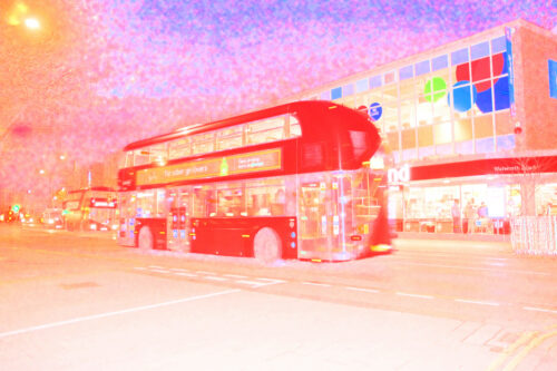 brightly coloured digitised image of a Routemaster bus