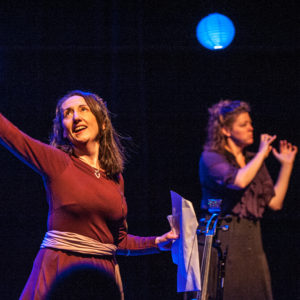 Standing right arm raised, (holding cello bow which was being used at the time to represent a sword, not sceene in picture) Wearing a plain burgundy colour dress with a light purple scarf tied around my waiste. Stage is dark except for two lanterns shining blue, BSL Interpteter in action. ) a sword - not in picture)
