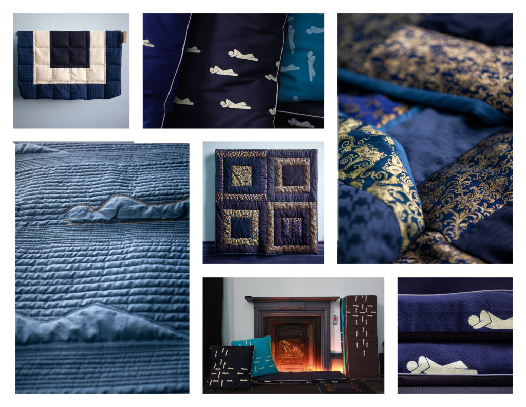 a series of seven photographs of designs for a resting space
