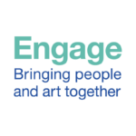 Engage in bold light blue text above Bringing people and art together in dark blue.