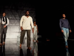 Four actors pace the stage