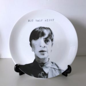 portrait of the artist on a plate