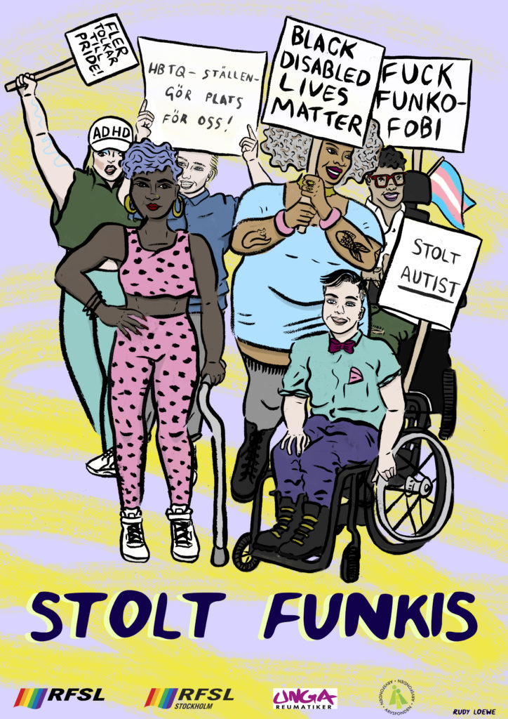 Illustrated Poster showing disabled people protesting