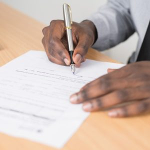 Man filling in a form