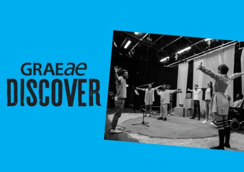 Discover flyer featuring rehearsal image