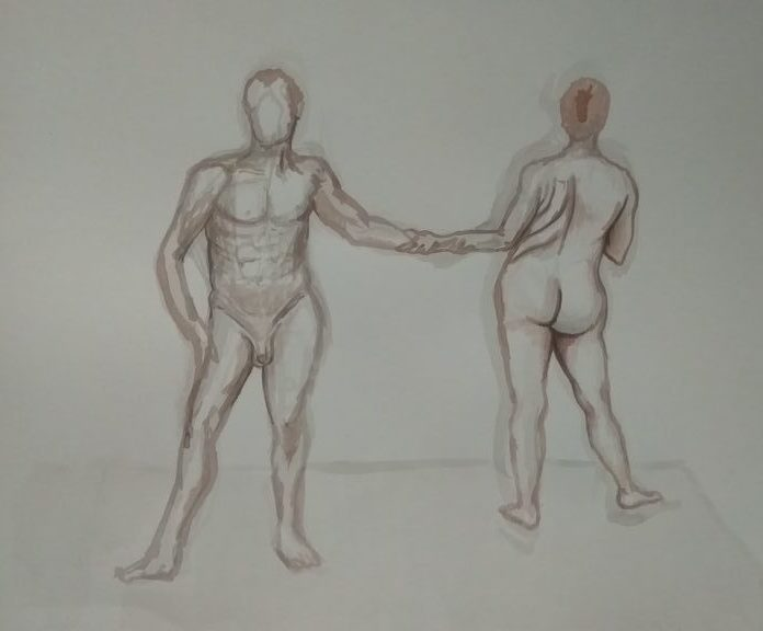 Ink life drawing of a male and female life models, facing opposing directions, adjoining by holding each others forearm.