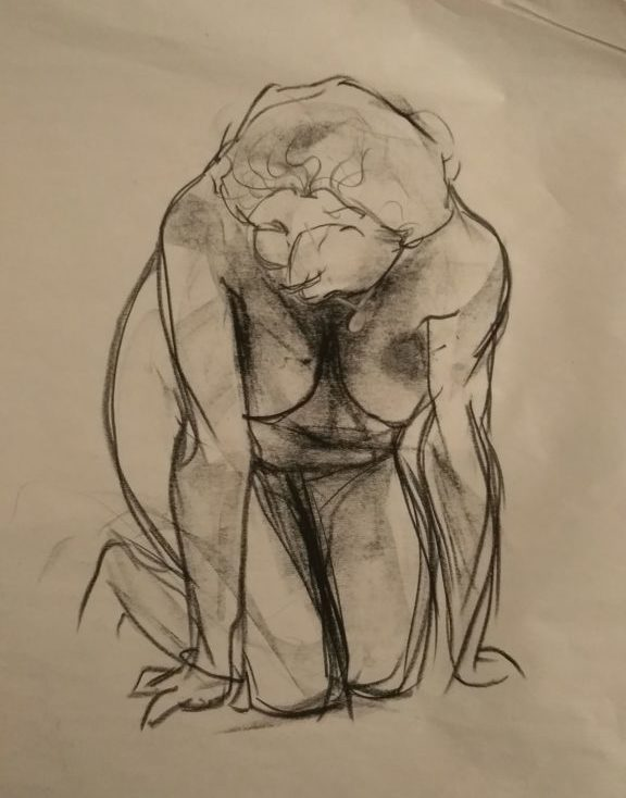 charcoal drawing of a kneeling woman, leaning forward with her hands on the floor.