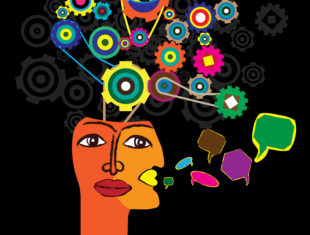 Fair Shake Logo - a colourful abstract image of a face with two mouths. Many speech bubbles come out of the mouth. Out of the head are a combination of different sizes cogs.