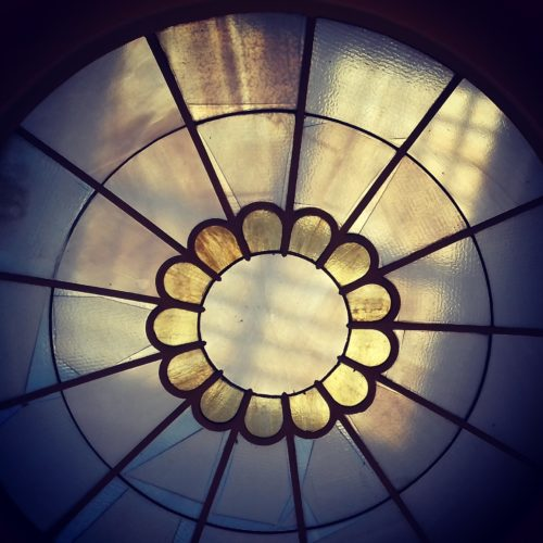Stained glass roof element