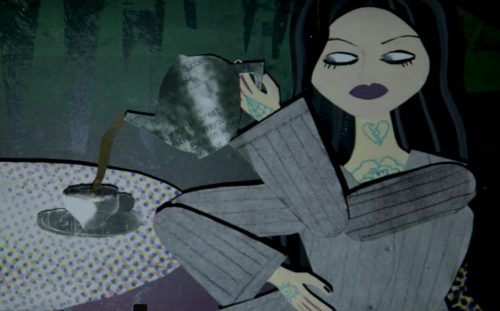 Stopmotion animated puppet of woman puring tea