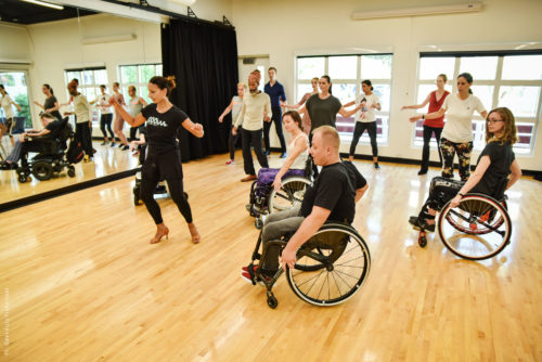 Dance workshop with mixed group of disabled and non-disabled dancers