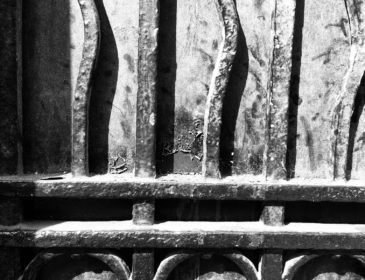 a close up of the iron gates