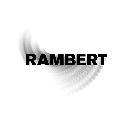 Rambert logo, black on white. the image is blurred to indicate movement