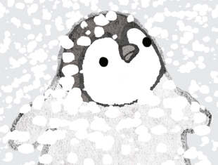Illustration of a penguin in the snow