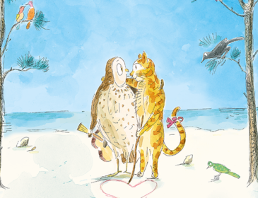 Illustration of an own and cat on a desert island