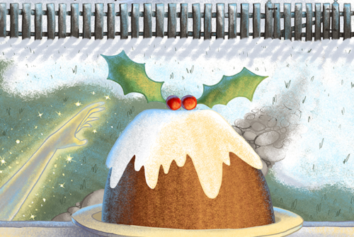 Illustration of a Christmas pudding in a snowy scene