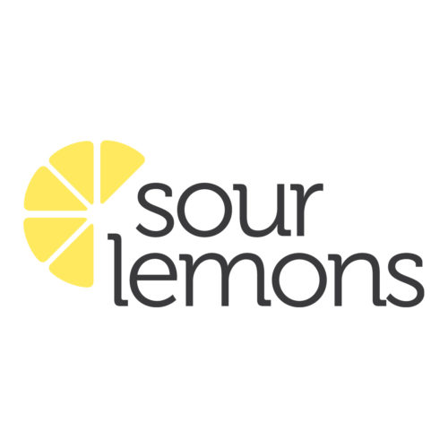 An image of the Sour Lemons logo. The text 'Sour Lemons' with a stylised lemon wedge on the left of it.
