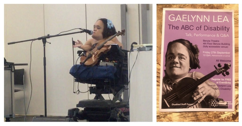 photo of performer on stage alongside a flyer for Gaelynn Lee's event
