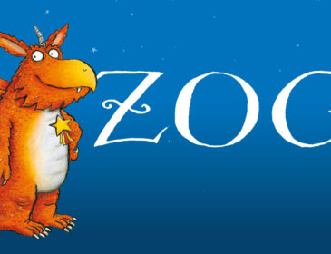 "an illustration of an orange dragon with wings and ""zog"" in white lettering to the right of it"