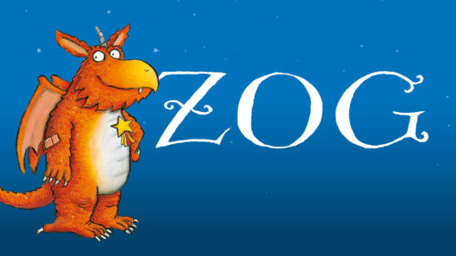 Illustration of an orange dragon with the word Zog next to it