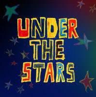 Under the stars logo, handwritten style writing on purple background