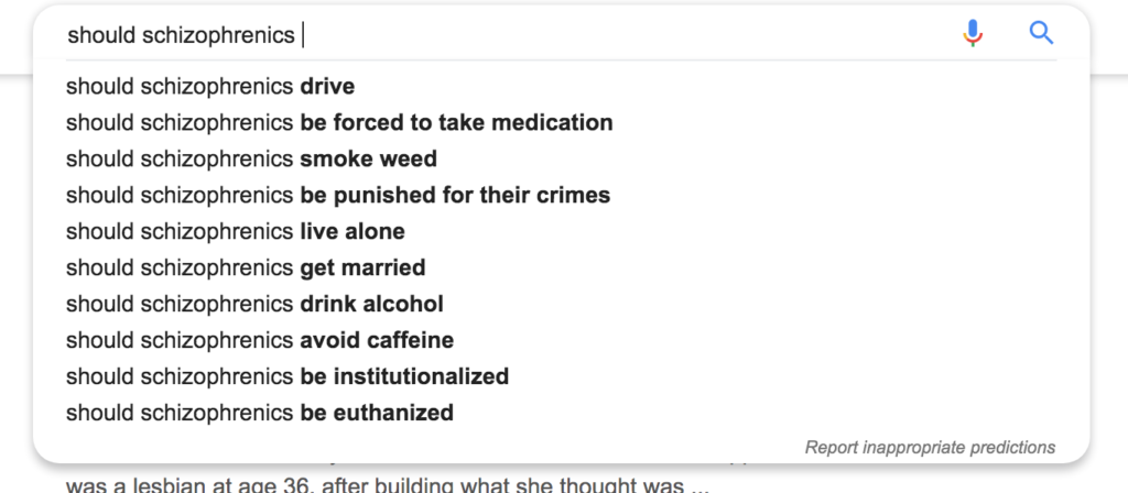 Google suggested search results on schizophrenia