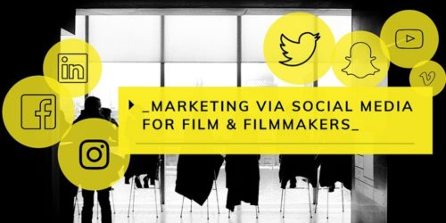 Film still with yellow social media icons overlaid on it