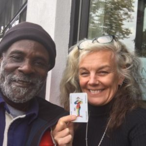 Liz with Joker card and Tesco Delivery Man