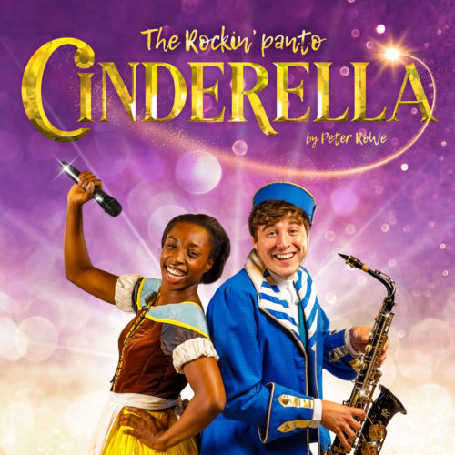A black woman is dressed as Cinderella. She is holding a microphone and smiling. A white man is stood back to back with her. He is dressed in a blue uniform like a concierge. He is holding a saxophone and smiling. They are on a purple background with the words 'Cinderella; The Rockin' Panto' above them.