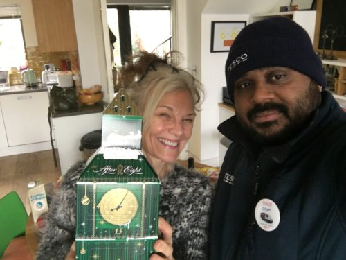 Liz with Tesco delivery man and big ben advent calendar