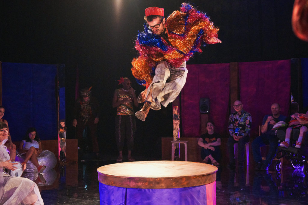 Man jumps on podium