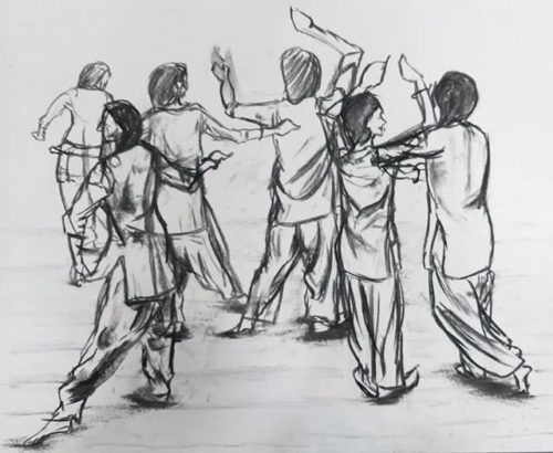 Charcoal drawing depicting what looks like 6 dancers.